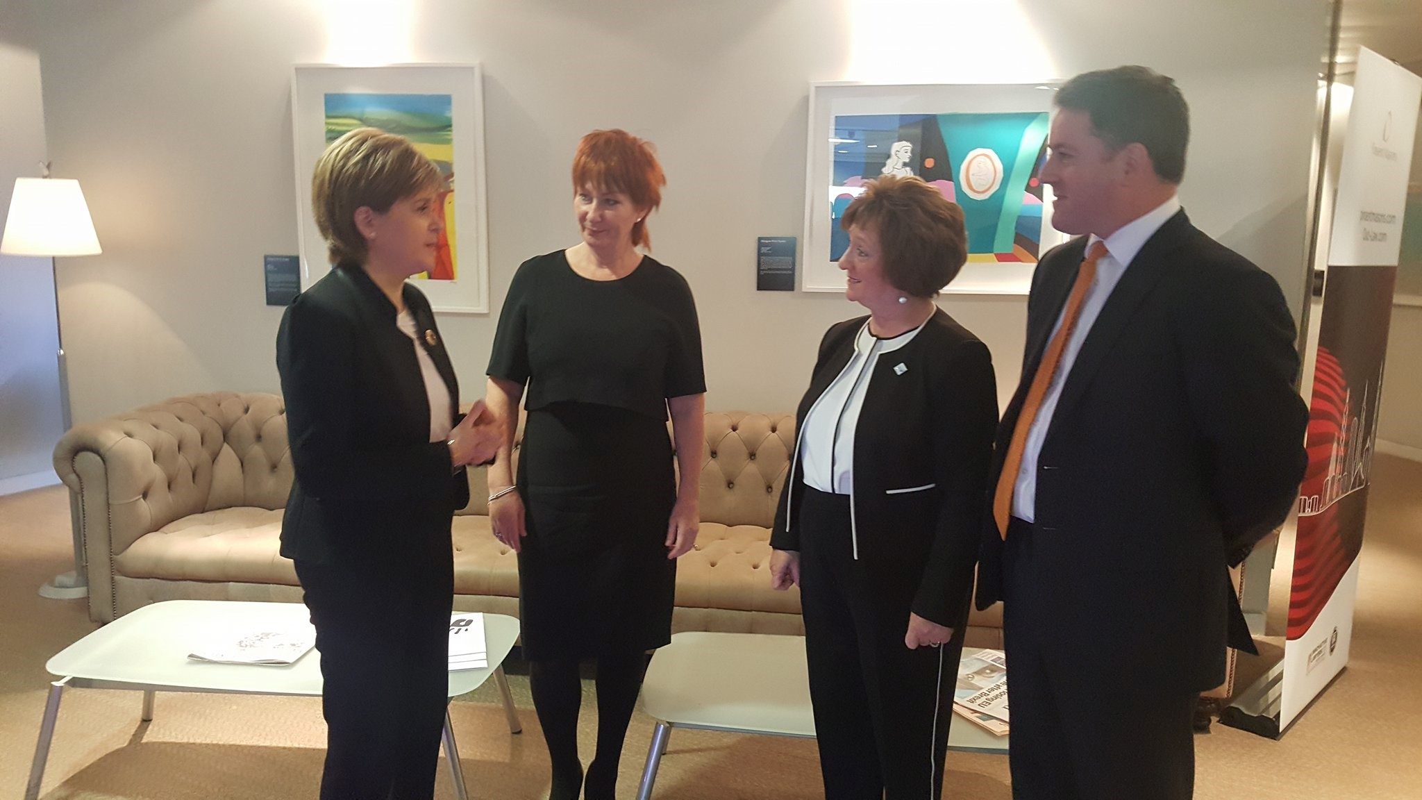 First Minister, Nora Senior, SCC Chair, Liz Cameron OBE, SCC CEO, Barry McCaig, Head of Pinsent Masons Glasgow